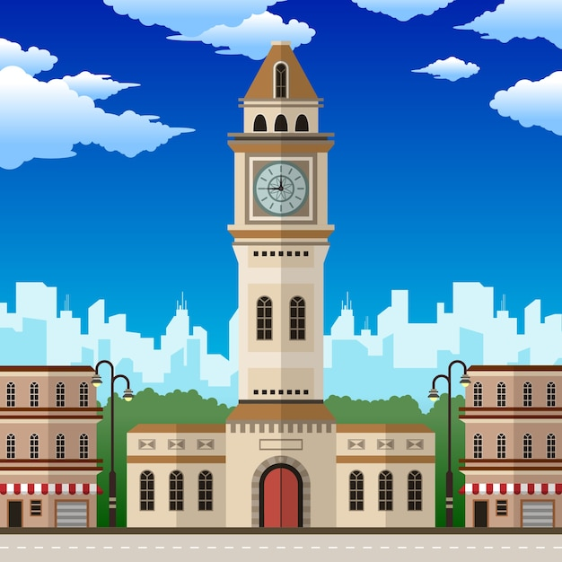 City clocktower com floresta e nuvens Vetor Premium