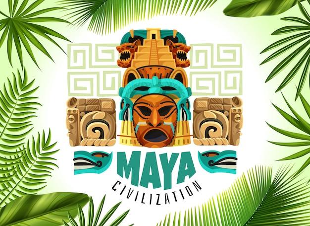 Civilização maia poster horizontal Vetor grátis