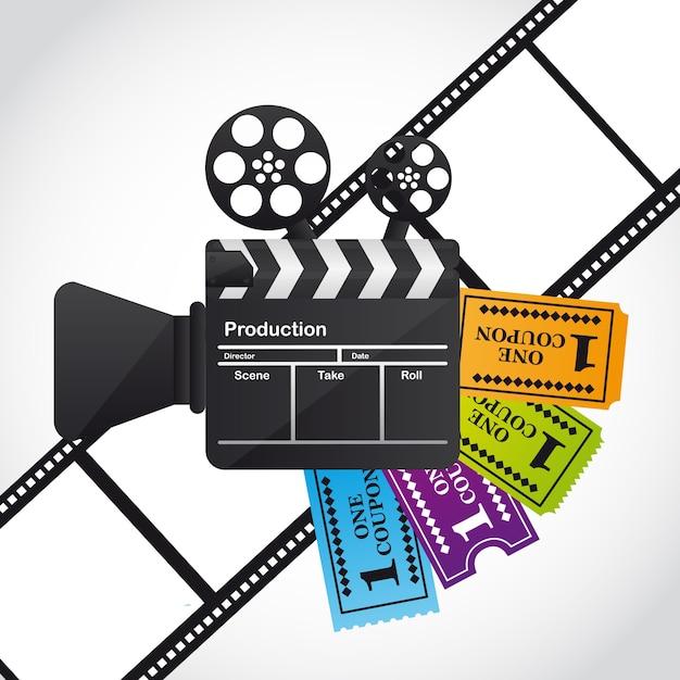 Claquete com bilhetes sobre ilustração vetorial de listra de filme Vetor Premium