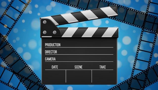Claquete de cinema, badalo, placa de ardósia de cinema. Vetor Premium