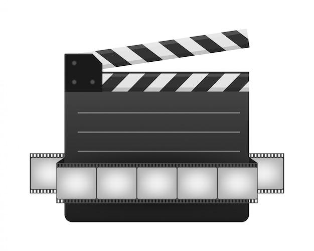 Claquete fechada preta e tira de filme. placa de ardósia de cinema preto, dispositivo usado na produção de filmes e vídeos. ilustração das ações realista. Vetor Premium