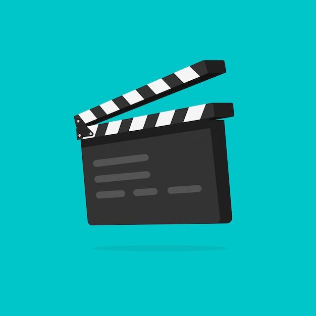 Claquete ou filme ardósia isolado cartoon plana Vetor Premium