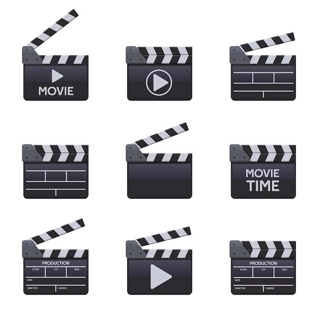 Claquetes de filmes. badalo de madeira de cinema com títulos, símbolos vetoriais de cinema Vetor Premium