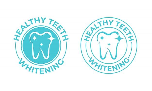 Clareamento dos dentes. etiqueta do pacote de clareamento dos dentes saudáveis Vetor Premium