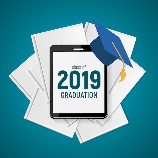 Classe de 2019 graduarion education background. Vetor Premium