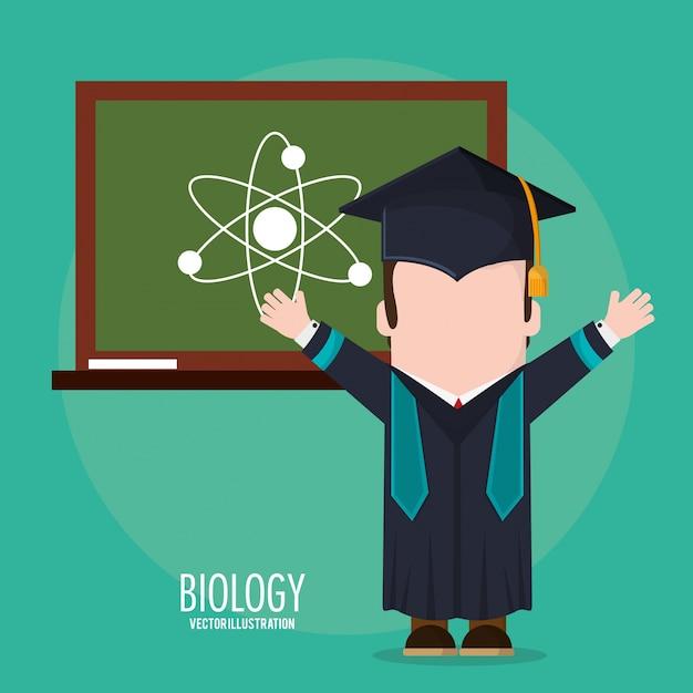 Classe de conselho de biologia estudantil de pós-graduação Vetor Premium