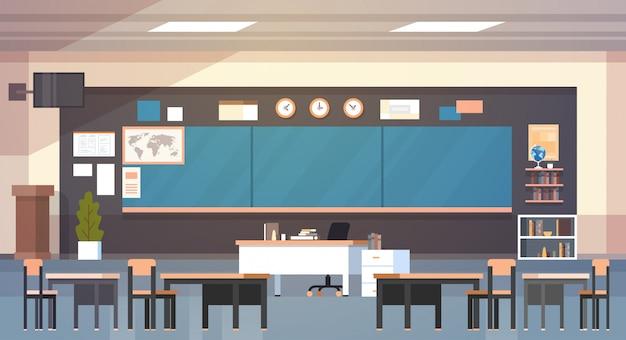 Classe de escola vazia interior de sala de aula com placa e mesas Vetor Premium