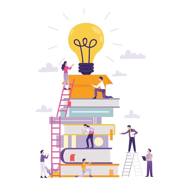 Classe online e trabalho em equipe negócio construindo nova ideia Vetor Premium
