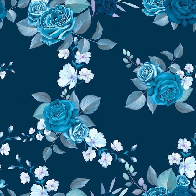 Clássico azul padrão sem emenda com flores Vetor grátis