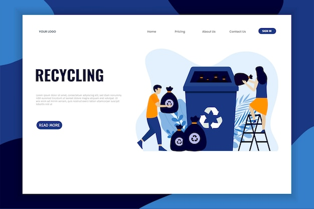 Classificação da lixeira para a página de destino da reciclagem Vetor Premium