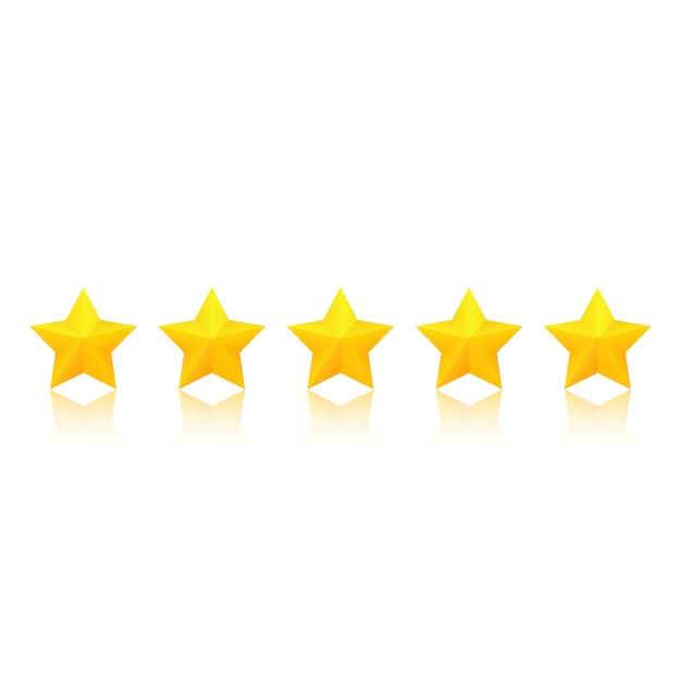 Classificação de estrelas de ouro com reflexão. Vetor Premium
