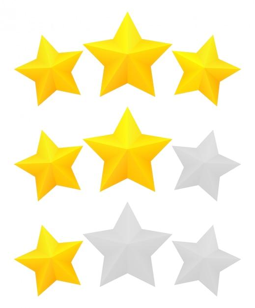 Classificação de três estrelas Vetor Premium