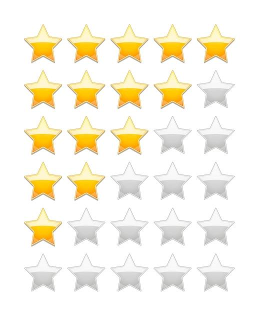 Classificação do vetor 5 estrelas isoladas em branco Vetor grátis