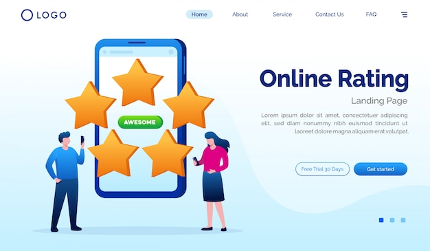 Classificação on-line da página de destino site ilustração modelo vector plana Vetor Premium