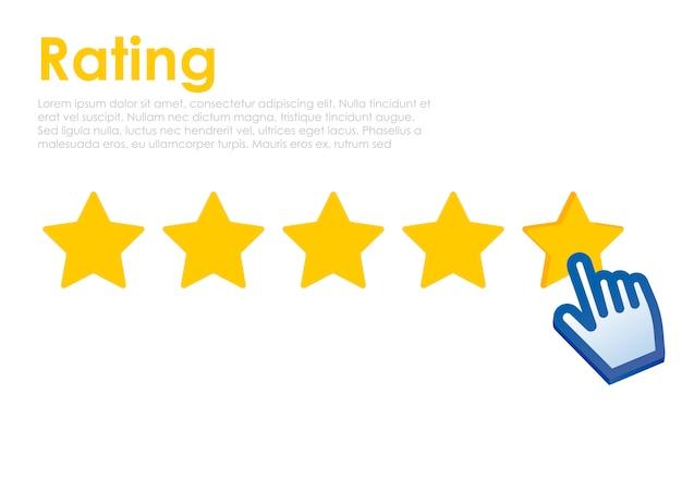 Classificação por estrelas com cursor no site. feedback para o usuário online. Vetor grátis