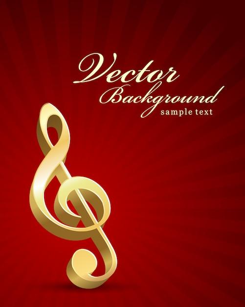 Clave de ouro inscrição notas musicais fundo Vetor Premium