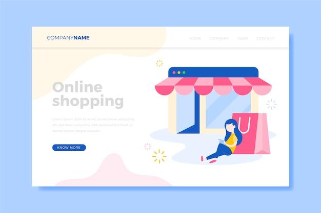 Cliente com página de destino de compras com bolsa rosa Vetor grátis