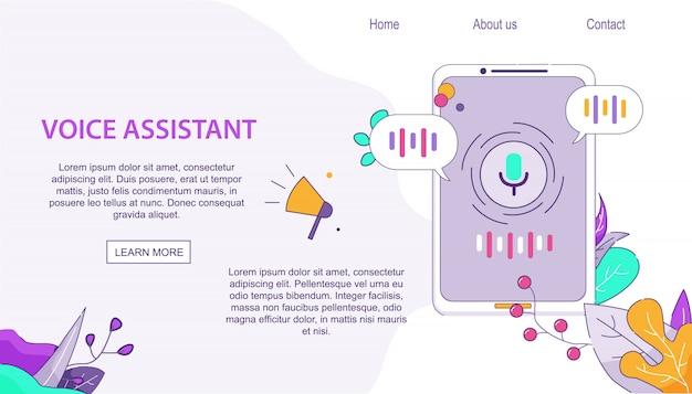 Cliente do assistente de voz para dispositivos móveis no android Vetor Premium