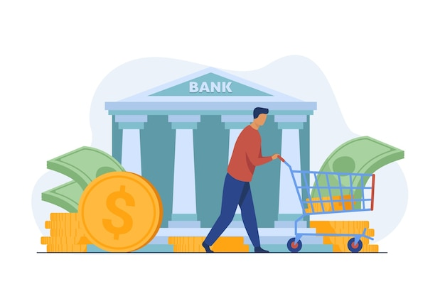 Cliente do banco obtendo empréstimo. homem que roda carrinho com ilustração vetorial plana de dinheiro. finanças, dinheiro, bancos, serviços Vetor grátis