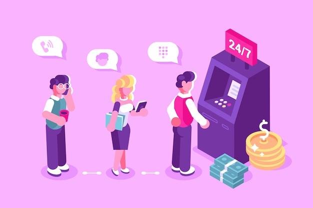 Cliente em pé perto do caixa eletrônico e segurando a ilustração do cartão de crédito Vetor Premium
