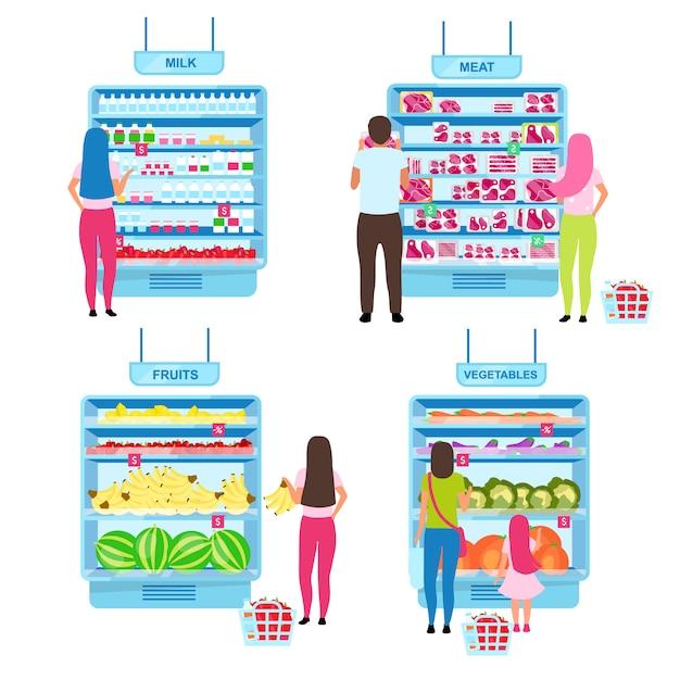 Cliente escolhendo produtos conjunto de ilustrações plana. compradores que fazem a escolha no supermercado, em pé perto das prateleiras dos supermercados com personagens de desenhos animados de mercadorias. compras no mercado dos fazendeiros Vetor Premium