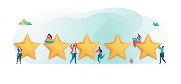 Cliente está dando cinco estrelas. Vetor Premium