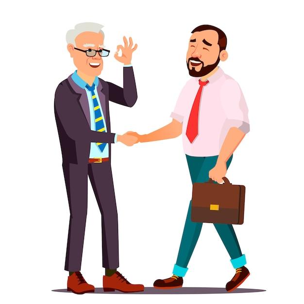 Cliente feliz. pessoa do cliente. apertando as mãos Vetor Premium