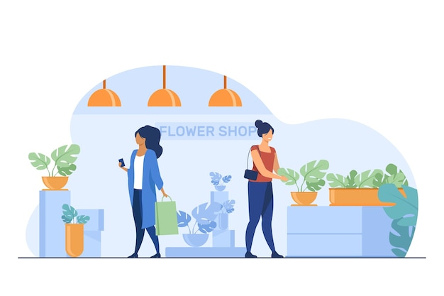 Clientes na floricultura. mulheres com bolsas, escolhendo ilustração em vetor plana de plantas de casa. compras, estufa, conceito de plantas caseiras Vetor grátis