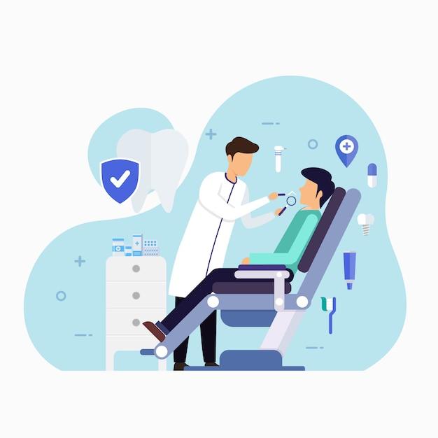 Clínica de atendimento odontológico para ilustração de conceito de design de check-up Vetor Premium