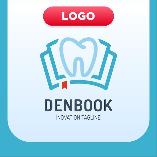 Clínica dental ícone do livro elemento de design do logotipo Vetor Premium