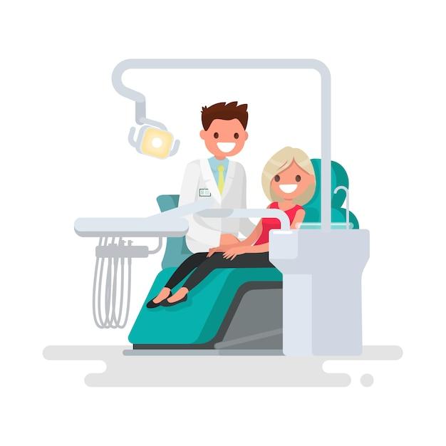 Clínica dentária. ilustração de dentista e paciente Vetor Premium