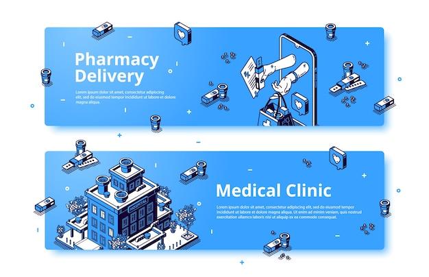Clínica médica, bandeira isométrica de entrega de farmácia. Vetor grátis