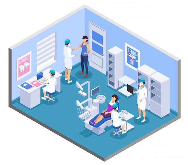 Clínica odontológica prática escritório interior composição isométrica com assistentes médicos dentista móveis equipamentos de tratamento de pacientes Vetor grátis