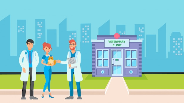 Clínica veterinária em cityscape flat vector illustration Vetor Premium