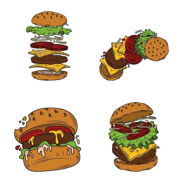 Clipart de hambúrguer fast food com camadas de hambúrguer, hambúrguer mordido e ingredientes Vetor Premium