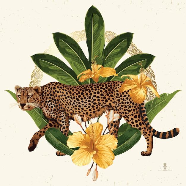 Clipart de verão tropical. emblema de verão útil para o projeto de plano de fundo. Vetor Premium