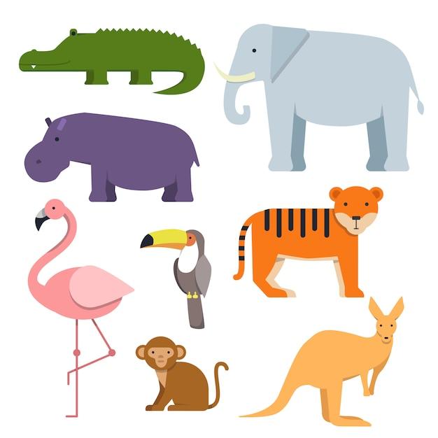 Clipart dos desenhos animados de animais selvagens. Vetor Premium
