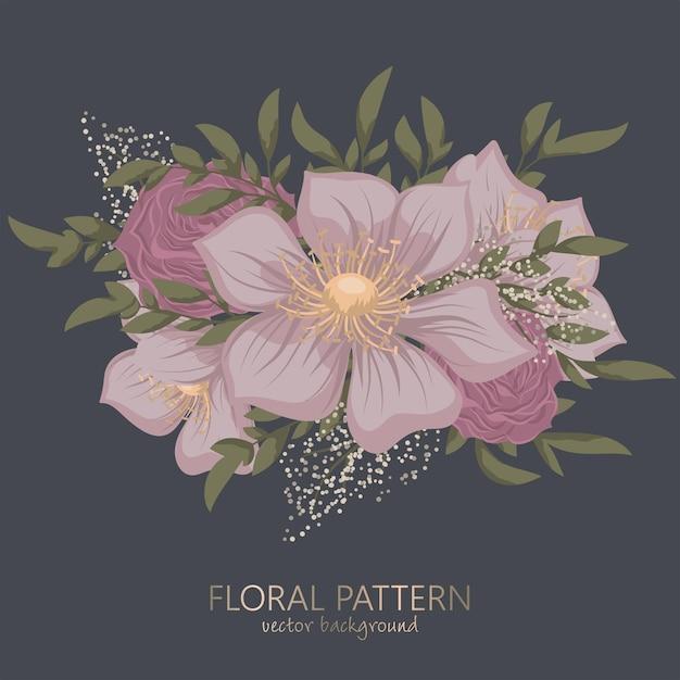 Clipart floral fofo Vetor grátis