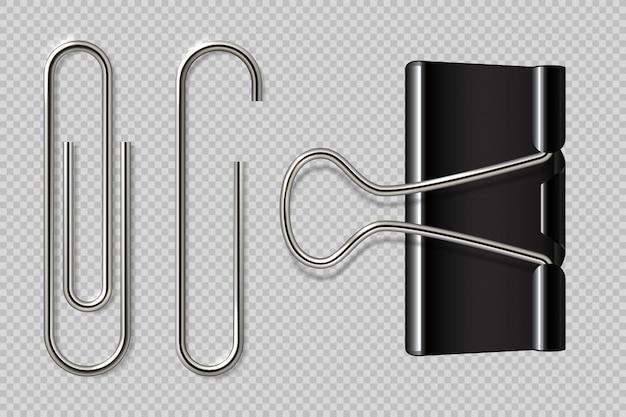 Clipes de papel. fichário realista, suporte de papel isolado no fundo branco, fixadores de caderno de metal macro. Vetor Premium