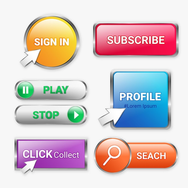 Clique e colete botões Vetor grátis