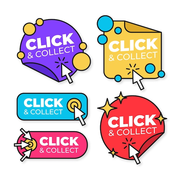 Clique e colete coleção de botões Vetor grátis