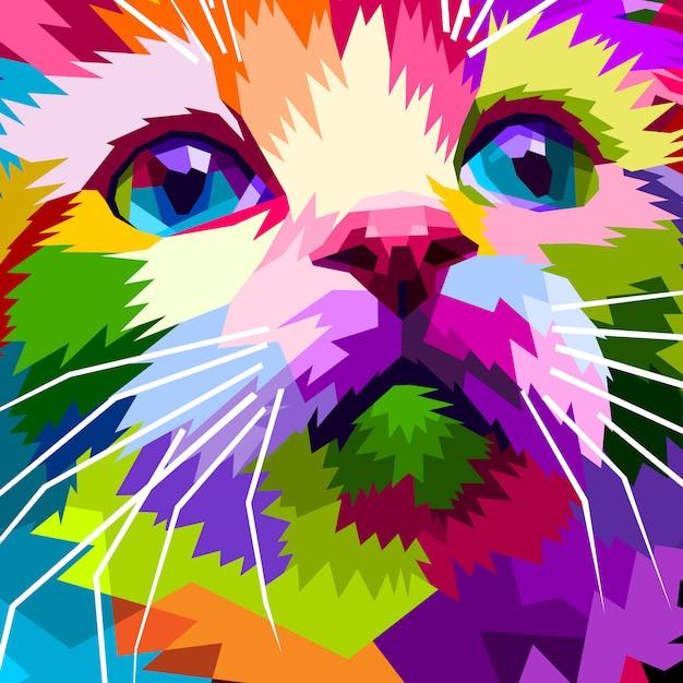 Close-up do lindo gato de rosto Vetor Premium