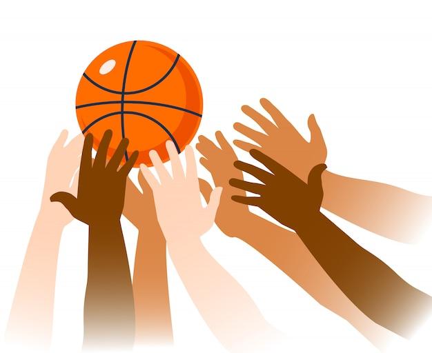 Closeup de momento de jogo de basquete Vetor Premium