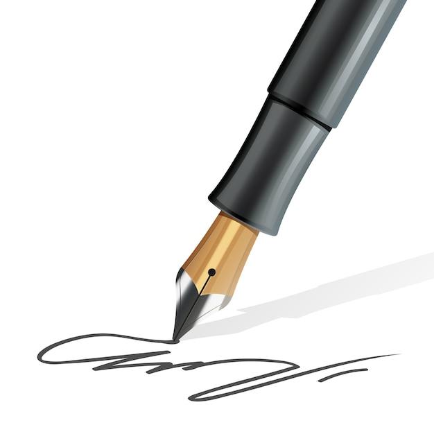 Closeup na caneta tinteiro, escrevendo uma assinatura realista Vetor grátis