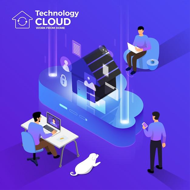 Cloud computiong para trabalhar em casa 02 Vetor Premium