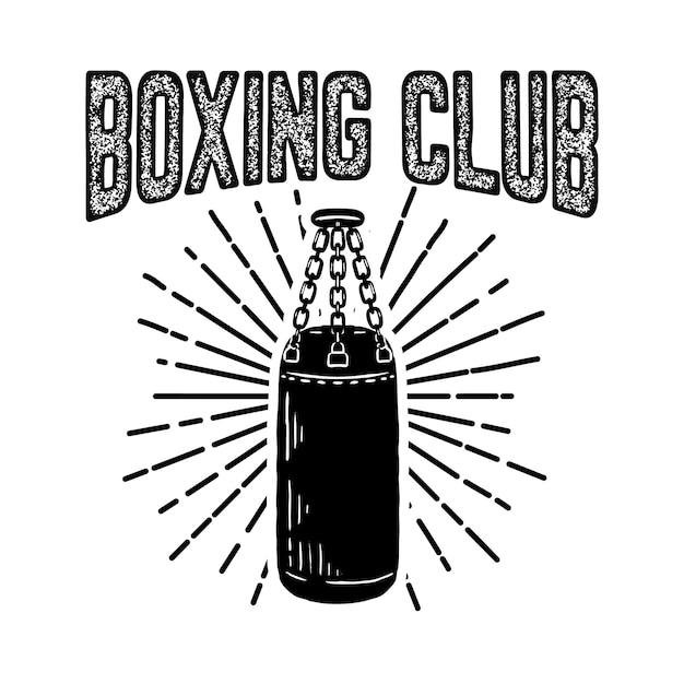 Clube campeão de boxe. modelo de emblema com saco de boxe. elemento para o logotipo, etiqueta, emblema, sinal. ilustração Vetor Premium