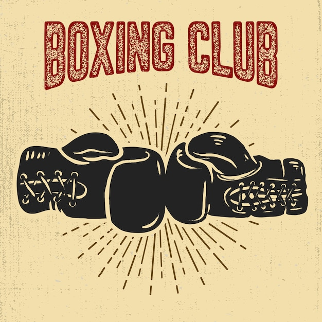 Clube de boxe. luvas de boxe em fundo branco. elemento para cartaz, etiqueta, emblema, sinal. ilustração Vetor Premium