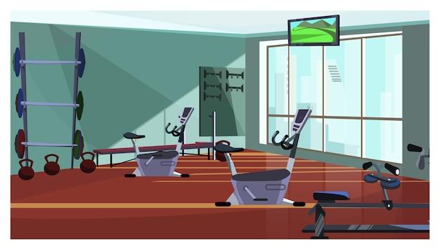 Clube de saúde moderno com ilustração de equipamentos de fiação Vetor grátis