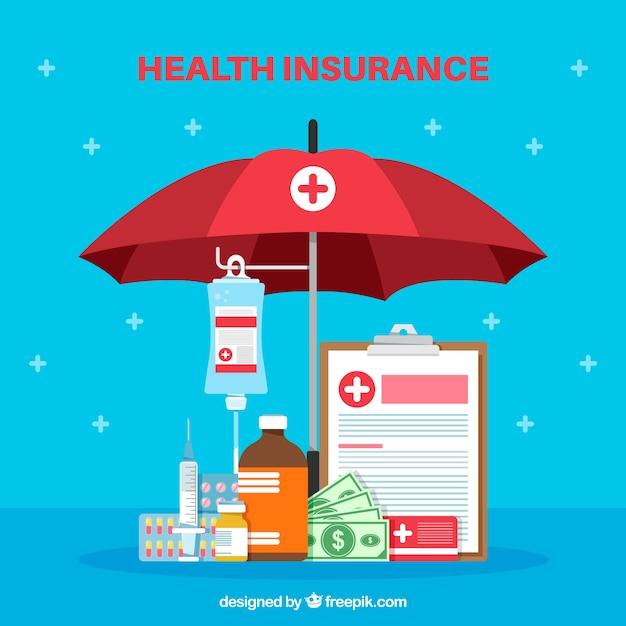 Cmposição plana com complementos de saúde Vetor grátis