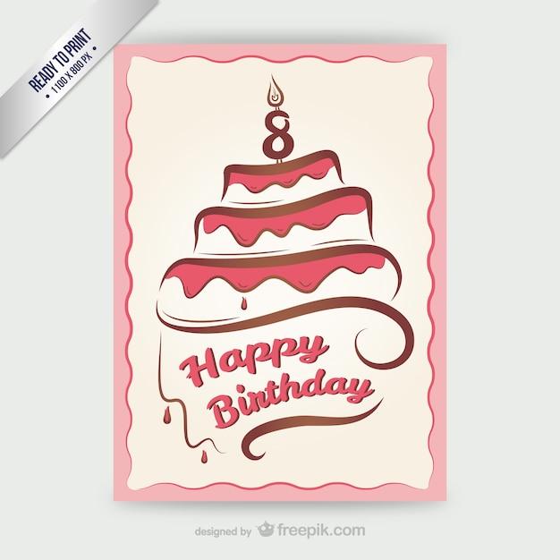 Cmyk cartão feliz do aniversário com bolo Vetor grátis